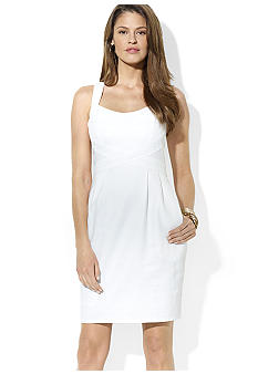 Lauren Ralph Lauren Scoopneck Basket-Weave Cotton Dress