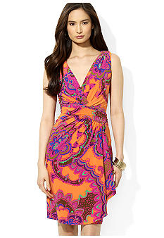 Lauren Ralph Lauren Ruffled V-Neck Printed Dress