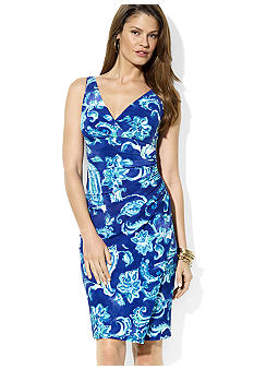 Lauren Ralph Lauren Paisley Jersey V-Neck Dress