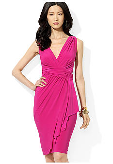 Lauren Ralph Lauren Ruffled V-Neck Dress