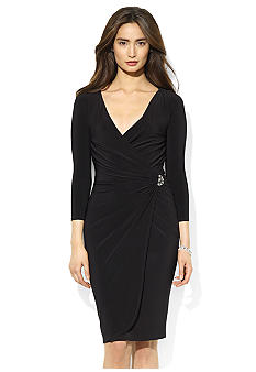 Lauren Ralph Lauren Three-Quarter-Sleeved Rhinestone Surplice Jersey Dress