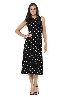Lauren Ralph Lauren Polka-Dot Crew Neck Dress