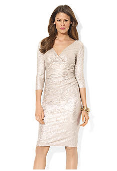 Lauren Ralph Lauren Metallic Knit Surplice Dress