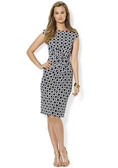 Lauren Ralph Lauren Jersey Cap-Sleeved Printed Dress<br>