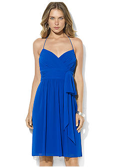 Sleeveless Shirred Georgette Halter Dress