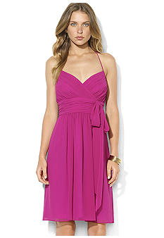 Lauren Ralph Lauren Sleeveless Shirred Georgette Halter Dress