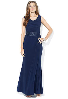 Lauren Ralph Lauren Cap-Sleeved Matte Jersey Beaded Gown