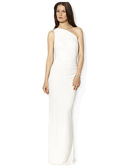 Lauren Ralph Lauren Floor-Length One-Shoulder Brooch Dress