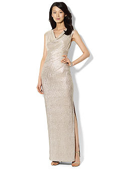 Lauren Ralph Lauren Cap-Sleeved Metallic Cowl Neck Gown