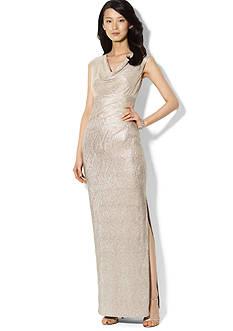 Lauren Ralph Lauren Cap-Sleeved Metallic Cowl Neck Gown<br>