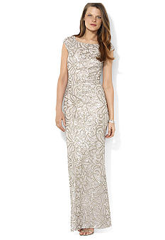 Lauren Ralph Lauren Cap-Sleeved Sequined Gown