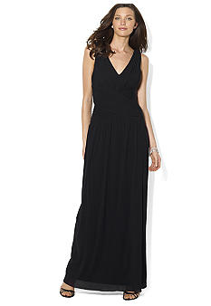 Lauren Ralph Lauren Shirred Sleeveless Gown