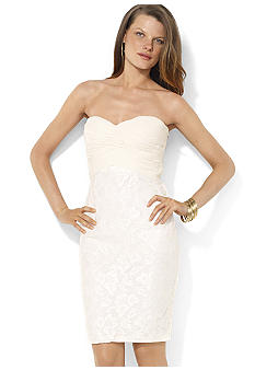 Lauren Ralph Lauren Strapless Ruched Georgette and Lace Sweetheart Dress