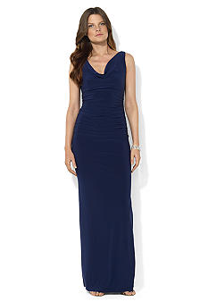 Lauren Ralph Lauren Sleeveless Draped Cowl Neckline Dress