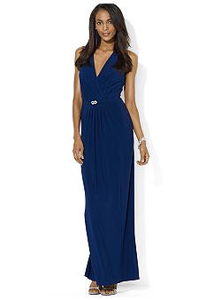 Lauren Ralph Lauren Sleeveless Floor-Length Belted Matte Jersey Gown