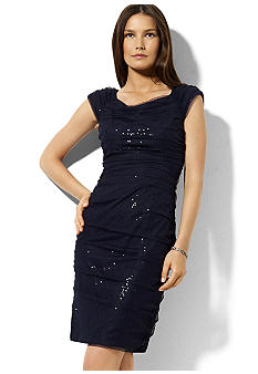 Lauren Ralph Lauren Sequined Cap-Sleeved Dress