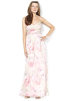 Lauren Ralph Lauren Floor-Length Shirred Floral Dress
