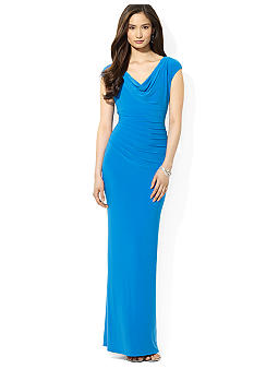 Lauren Ralph Lauren Cowl Neck Pin-Tucked Dress