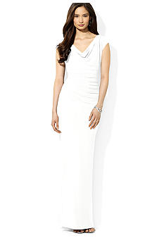 Lauren Ralph Lauren Cowl Neck Pin-Tucked Gown