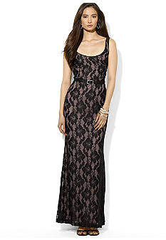 Lauren Ralph Lauren Belted Floral Lace Dress