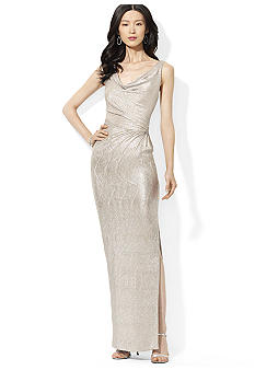 Lauren Ralph Lauren Sleeveless Cowl-Neck Metallic Gown