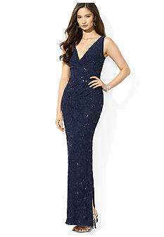 Lauren Ralph Lauren Sequined Lace V-Neck Dress