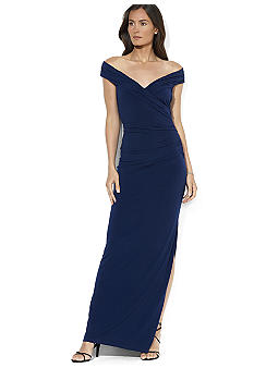 Lauren Ralph Lauren Cap-Sleeved Matte Jersey Ruched Evening Gown