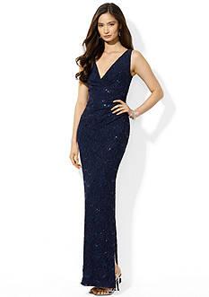 Lauren Ralph Lauren Sequined Lace V-Neck Gown