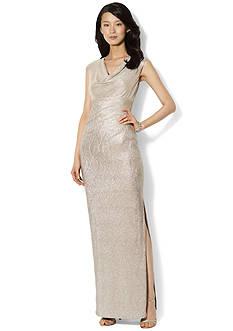 Lauren Ralph Lauren Cap-Sleeved Metallic Cowl-Neck Gown