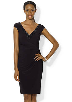 Lauren Ralph Lauren Beaded V-Neck Dress