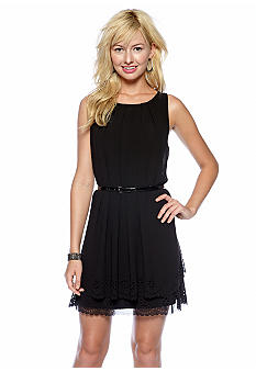 Jessica Simpson Sleeveless Belted Chiffon Dress