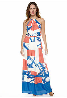 Jessica Simpson Halter Printed Maxi Dress