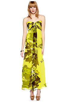 Jessica Simpson Strapless Chiffon Maxi Dress