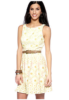 Jessica Simpson Sleeveless Fit and Flare Belted Dress
