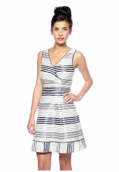 Jessica Simpson Sleeveless Striped Fit and Flare Dress