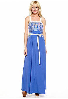 Jessica Simpson Embroidered Maxi Dress with Grosgrain Trim