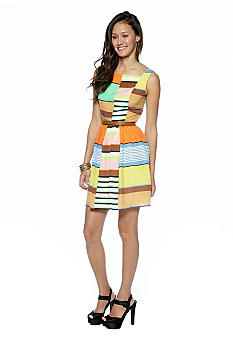 Jessica Simpson Sleeveless Printed Belted Dress
