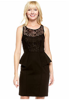 Jessica Simpson Sleeveless Peplum Sheath dress with Embroidery
