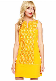 Jessica Simpson Sleeveless Shift Dress with Embroidery