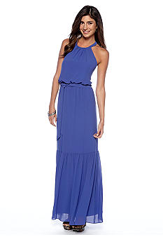 Jessica Simpson Halter Chiffon Maxi Dress