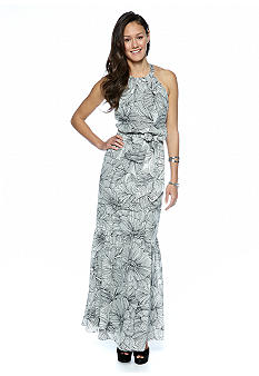 Jessica Simpson Halter Printed Maxi Belted Dress