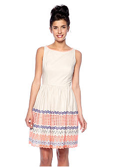 Jessica Simpson Sleeveless Fit and Flare Dress with Embroidery