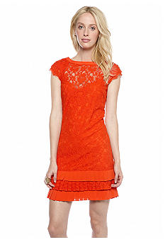 Jessica Simpson Cap-Sleeved Allover Lace Dress