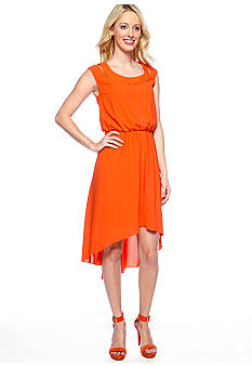 Jessica Simpson Sleeveless Hi-Lo Dress with Cutout Neckline