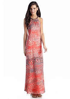Jessica Simpson Printed Halter Maxi Dress