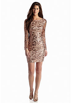 Jessica Simpson All-Over Sequin Cocktail Dress with Open Back