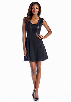 Jessica Simpson Fit-and-Flare Dress with Faux Leather Trim