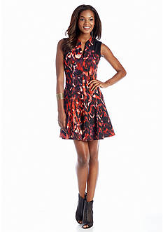 Jessica Simpson Printed Fit and Flare Dress