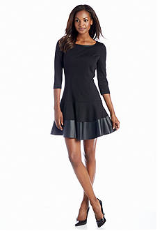Jessica Simpson Fit and Flare Dress with Faux Leather Trim