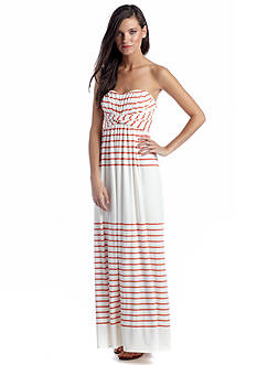 Jessica Simpson Strapless Striped Maxi Dress